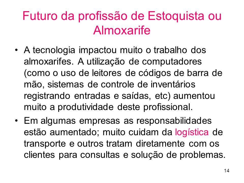 14 Futuro da profissão de Estoquista ou Almoxarife A tecnologia impactou muito o trabalho dos almoxarifes.