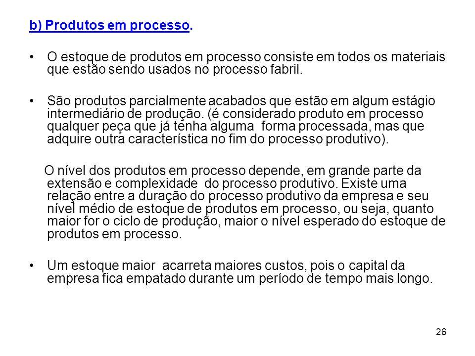 26 b) Produtos em processo.