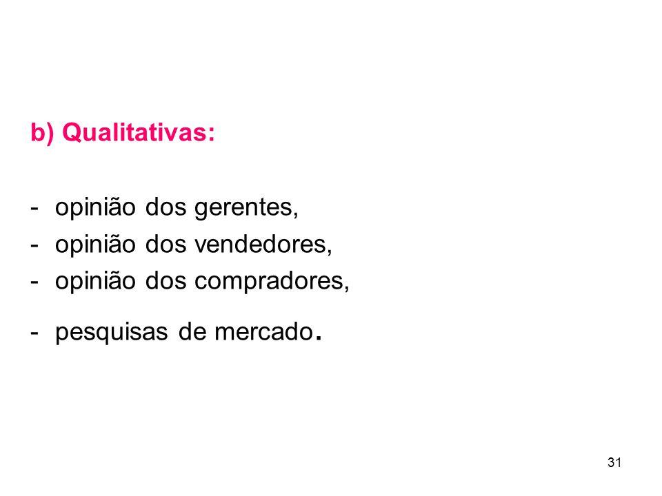 31 b) Qualitativas: - opinião dos gerentes, - opinião dos vendedores, - opinião dos compradores, - pesquisas de mercado.
