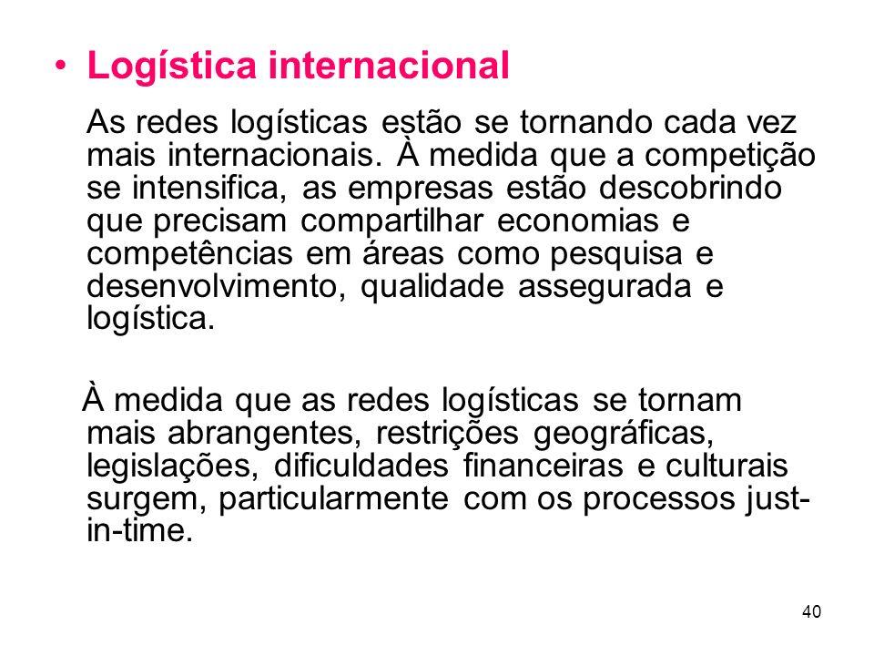 40 Logística internacional As redes logísticas estão se tornando cada vez mais internacionais.