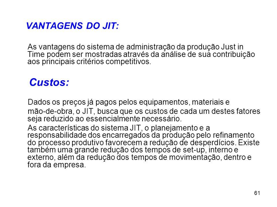 61 VANTAGENS DO JIT: As vantagens do sistema de administração da produção Just in Time podem ser mostradas através da análise de sua contribuição aos principais critérios competitivos.