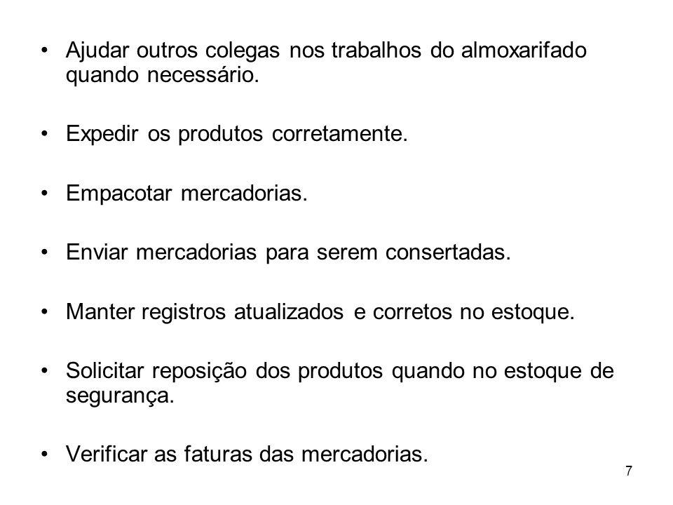 28 d) Peças de manutenção.