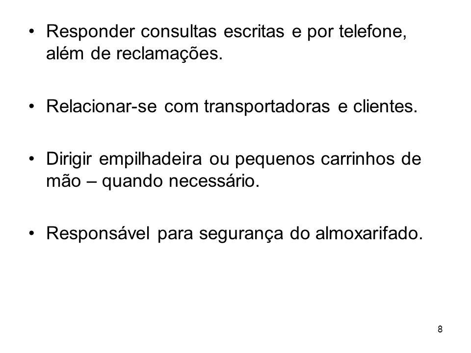 8 Responder consultas escritas e por telefone, além de reclamações.