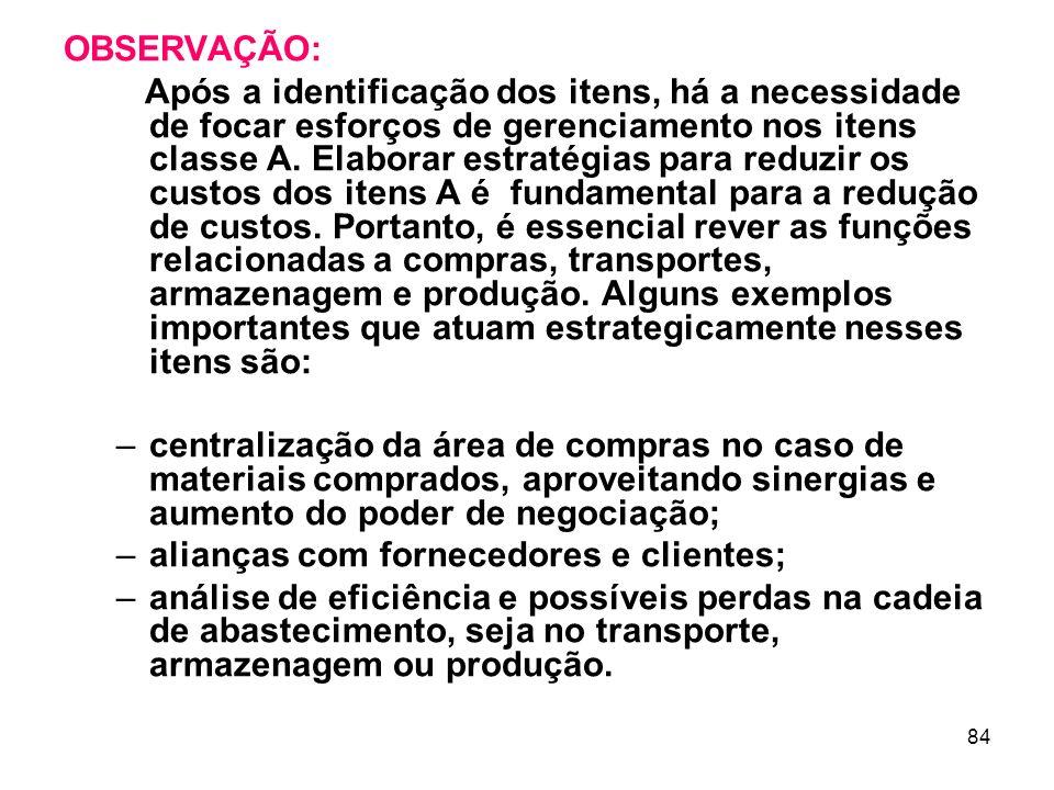 84 OBSERVAÇÃO: Após a identificação dos itens, há a necessidade de focar esforços de gerenciamento nos itens classe A.