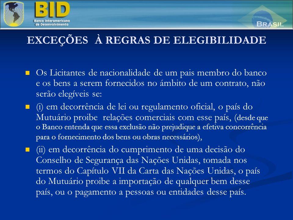 LICITAÇÃO PÚBLICA INTERNACIONAL (LPI) (Cont.) Editais de Licitação Editais de Licitação Adjudicação do Contrato Adjudicação do Contrato Antes do vencimento do prazo de validade das propostas, o Mutuário fará a adjudicação do objeto da licitação ao licitante que atenda aos padrões apropriados de capacidade e recursos, e cuja proposta tenha sido julgada: (i) substancialmente adequada aos termos do Edital de Licitação e (ii) de menor preço avaliado.