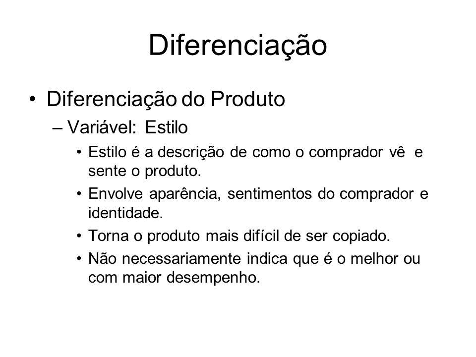 Diferenciação Diferenciação do Produto –Variável: Estilo Estilo é a descrição de como o comprador vê e sente o produto. Envolve aparência, sentimentos