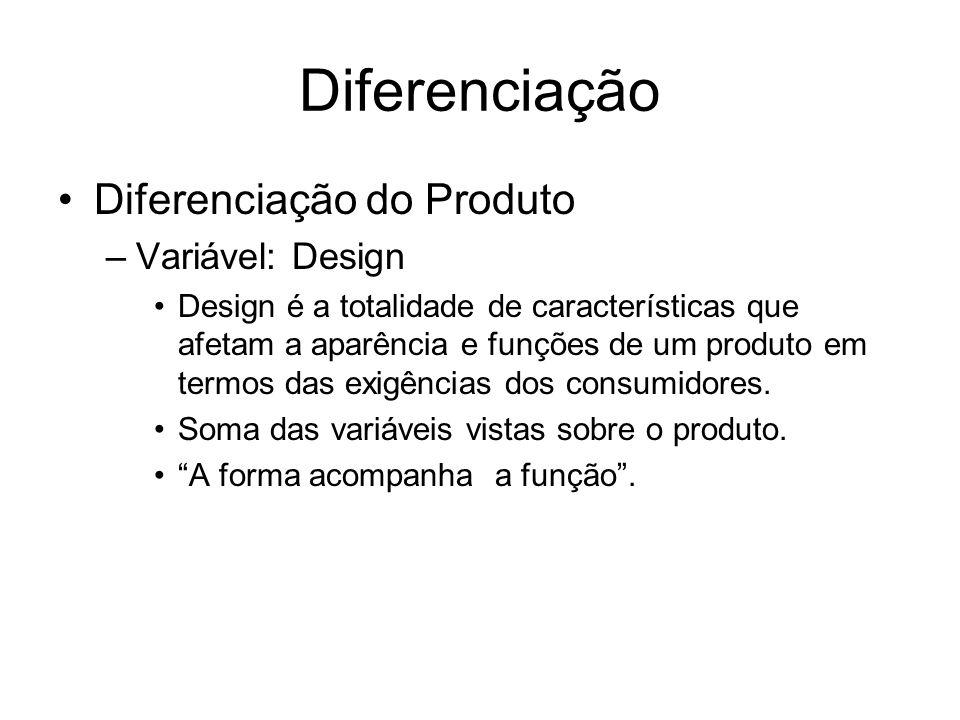 Diferenciação Diferenciação do Produto –Variável: Design Design é a totalidade de características que afetam a aparência e funções de um produto em te