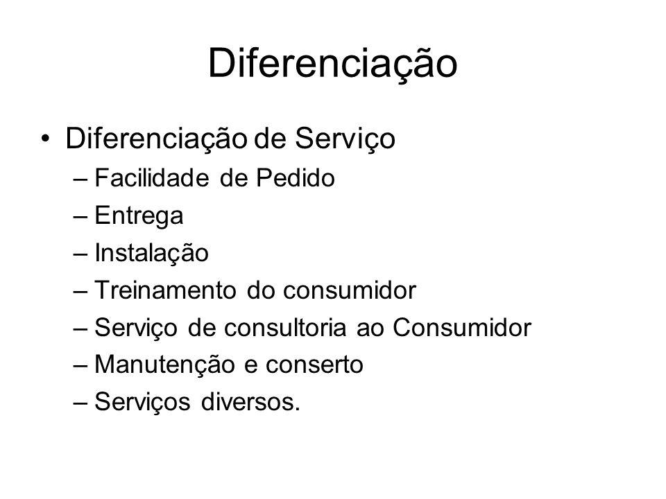 Diferenciação Diferenciação de Serviço –Facilidade de Pedido –Entrega –Instalação –Treinamento do consumidor –Serviço de consultoria ao Consumidor –Ma