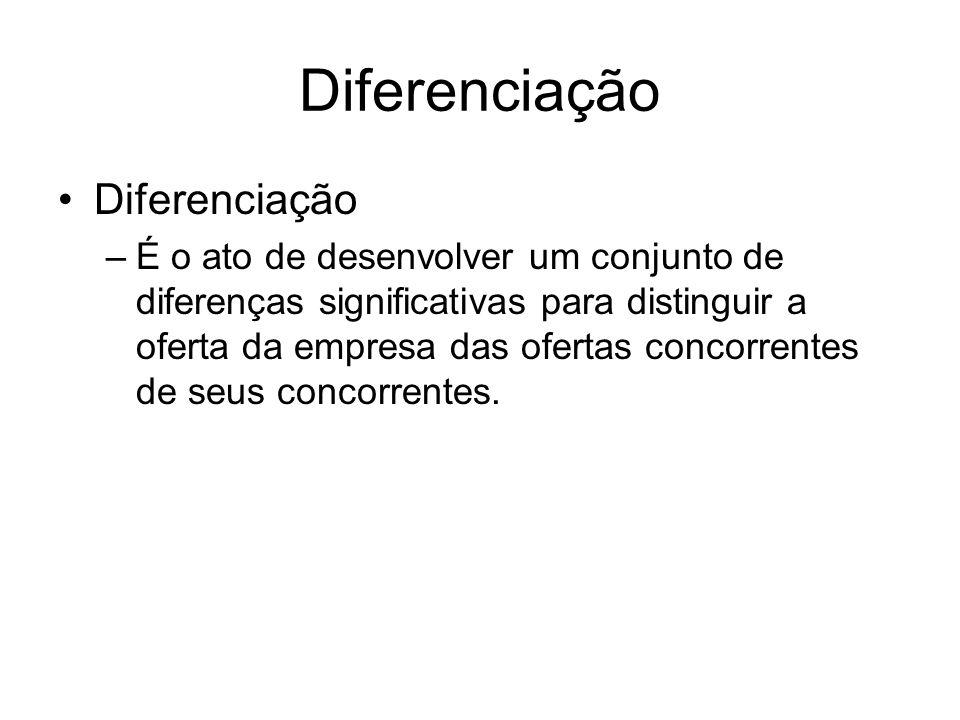 Diferenciação –É o ato de desenvolver um conjunto de diferenças significativas para distinguir a oferta da empresa das ofertas concorrentes de seus co