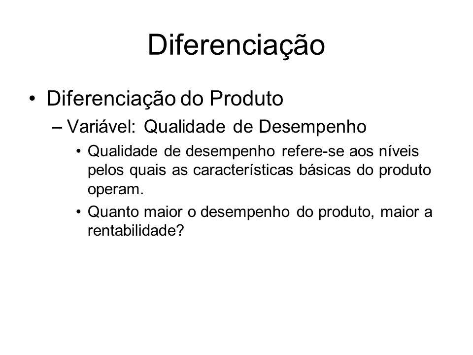 Diferenciação Diferenciação do Produto –Variável: Qualidade de Desempenho Qualidade de desempenho refere-se aos níveis pelos quais as características