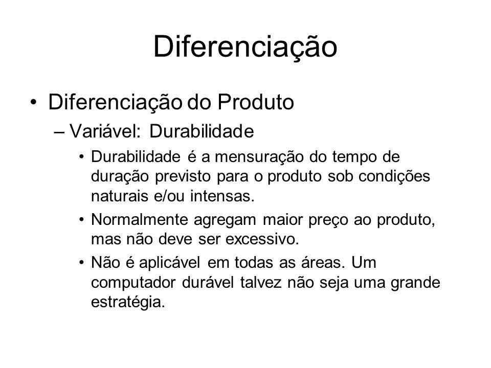 Diferenciação Diferenciação do Produto –Variável: Durabilidade Durabilidade é a mensuração do tempo de duração previsto para o produto sob condições n
