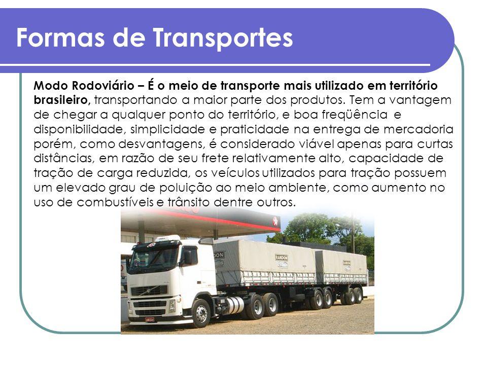 Formas de Transportes Modo Rodoviário – É o meio de transporte mais utilizado em território brasileiro, transportando a maior parte dos produtos. Tem
