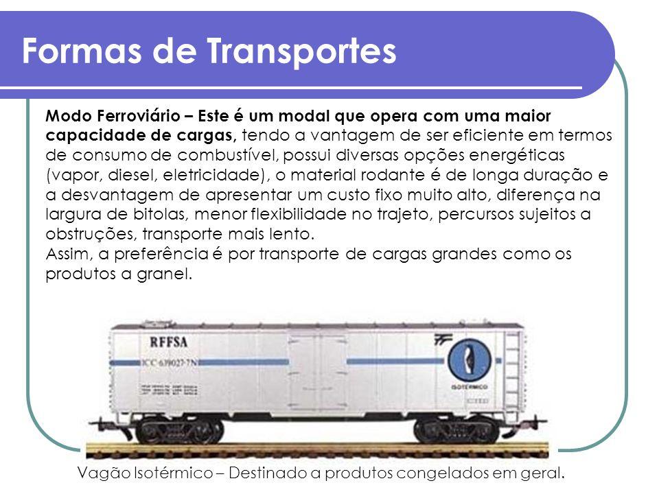 Formas de Transportes Modo Ferroviário – Este é um modal que opera com uma maior capacidade de cargas, tendo a vantagem de ser eficiente em termos de