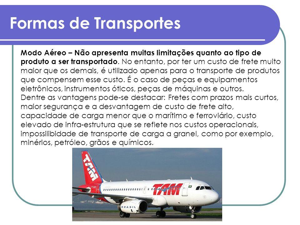 Formas de Transportes Modo Aéreo – Não apresenta muitas limitações quanto ao tipo de produto a ser transportado. No entanto, por ter um custo de frete