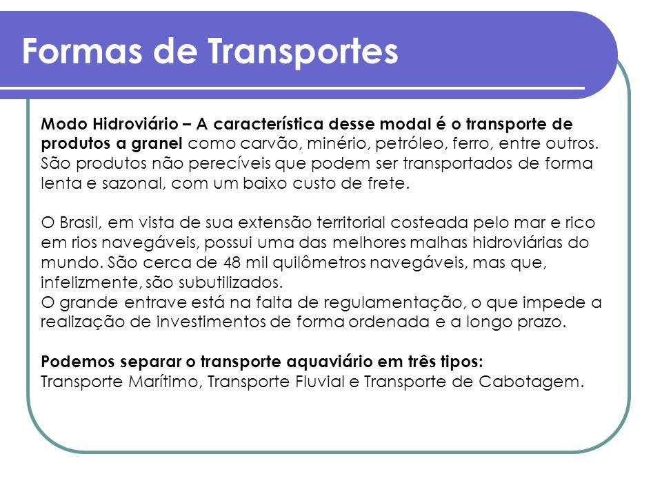 Formas de Transportes Modo Hidroviário – A característica desse modal é o transporte de produtos a granel como carvão, minério, petróleo, ferro, entre