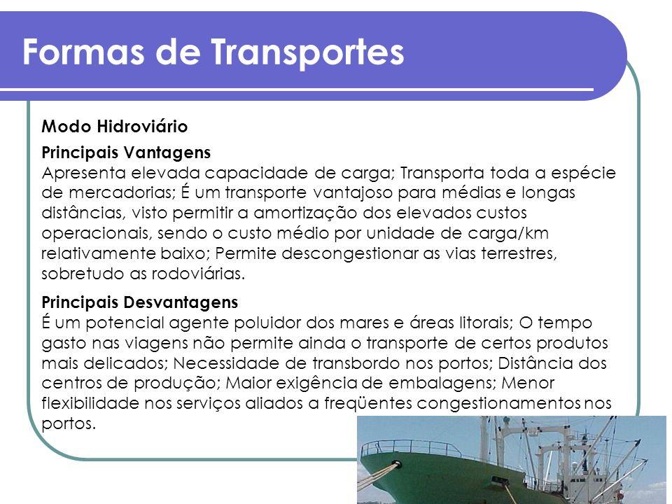Formas de Transportes Modo Hidroviário Principais Vantagens Apresenta elevada capacidade de carga; Transporta toda a espécie de mercadorias; É um tran