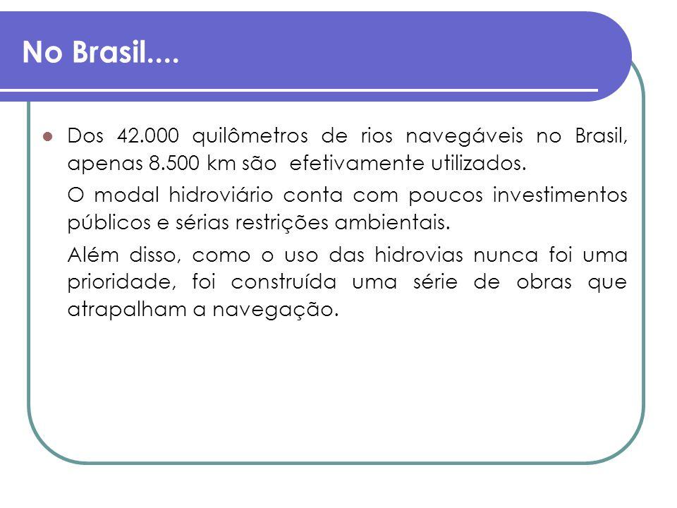 No Brasil.... Dos 42.000 quilômetros de rios navegáveis no Brasil, apenas 8.500 km são efetivamente utilizados. O modal hidroviário conta com poucos i