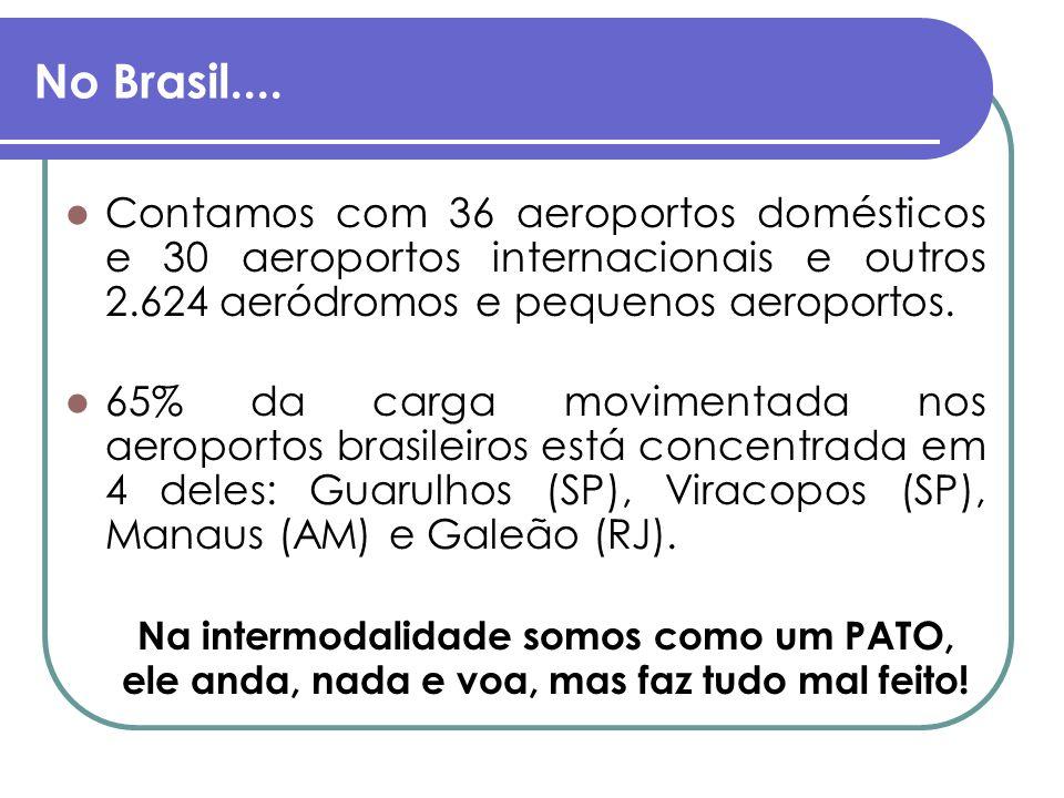 No Brasil.... Contamos com 36 aeroportos domésticos e 30 aeroportos internacionais e outros 2.624 aeródromos e pequenos aeroportos. 65% da carga movim