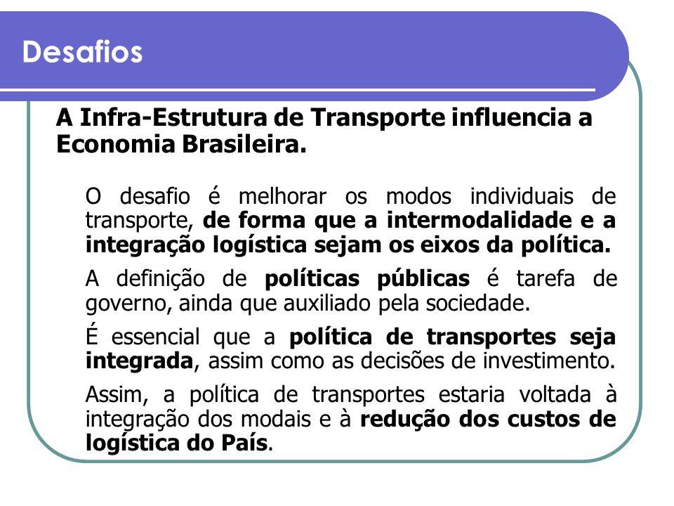 Desafios A Infra-Estrutura de Transporte influencia a Economia Brasileira. O desafio é melhorar os modos individuais de transporte, de forma que a int