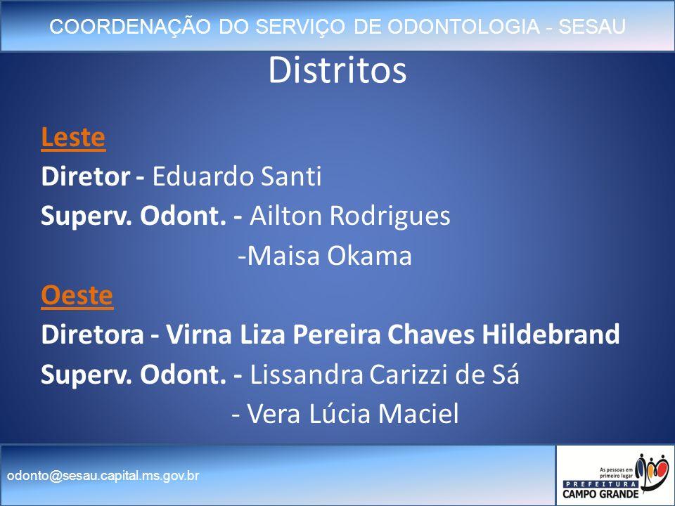COORDENAÇÃO DO SERVIÇO DE ODONTOLOGIA - SESAU odonto@sesau.capital.ms.gov.br Distritos Leste Diretor - Eduardo Santi Superv.