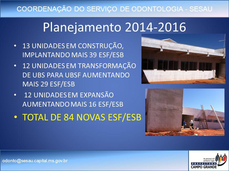 COORDENAÇÃO DO SERVIÇO DE ODONTOLOGIA - SESAU odonto@sesau.capital.ms.gov.br Planejamento 2014-2016 13 UNIDADES EM CONSTRUÇÃO, IMPLANTANDO MAIS 39 ESF/ESB 12 UNIDADES EM TRANSFORMAÇÃO DE UBS PARA UBSF AUMENTANDO MAIS 29 ESF/ESB 12 UNIDADES EM EXPANSÃO AUMENTANDO MAIS 16 ESF/ESB TOTAL DE 84 NOVAS ESF/ESB