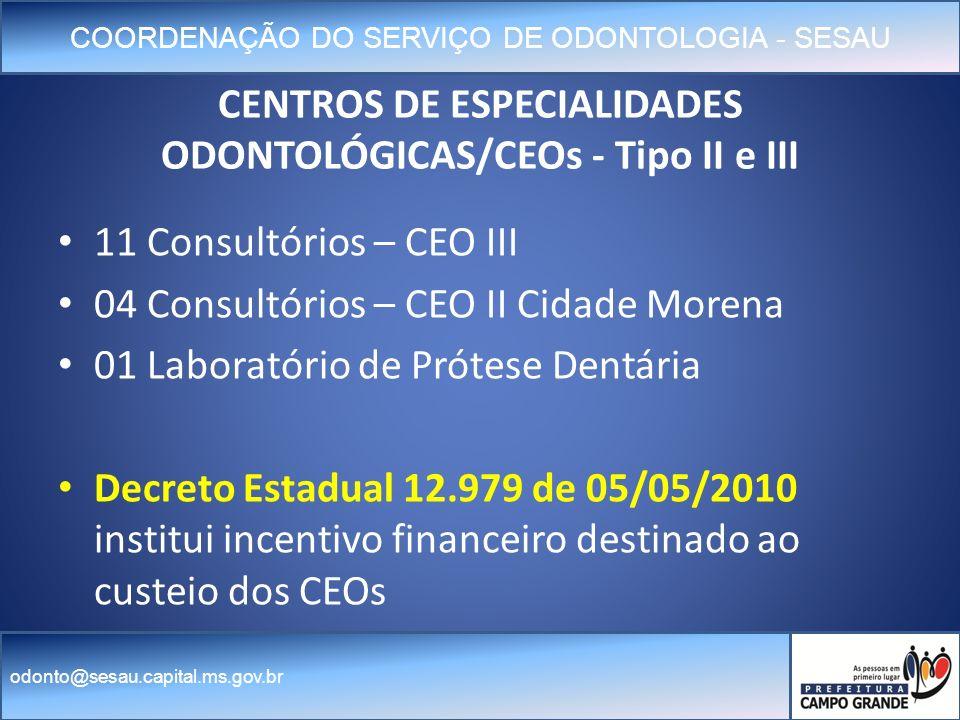COORDENAÇÃO DO SERVIÇO DE ODONTOLOGIA - SESAU odonto@sesau.capital.ms.gov.br CENTROS DE ESPECIALIDADES ODONTOLÓGICAS/CEOs - Tipo II e III 11 Consultórios – CEO III 04 Consultórios – CEO II Cidade Morena 01 Laboratório de Prótese Dentária Decreto Estadual 12.979 de 05/05/2010 institui incentivo financeiro destinado ao custeio dos CEOs