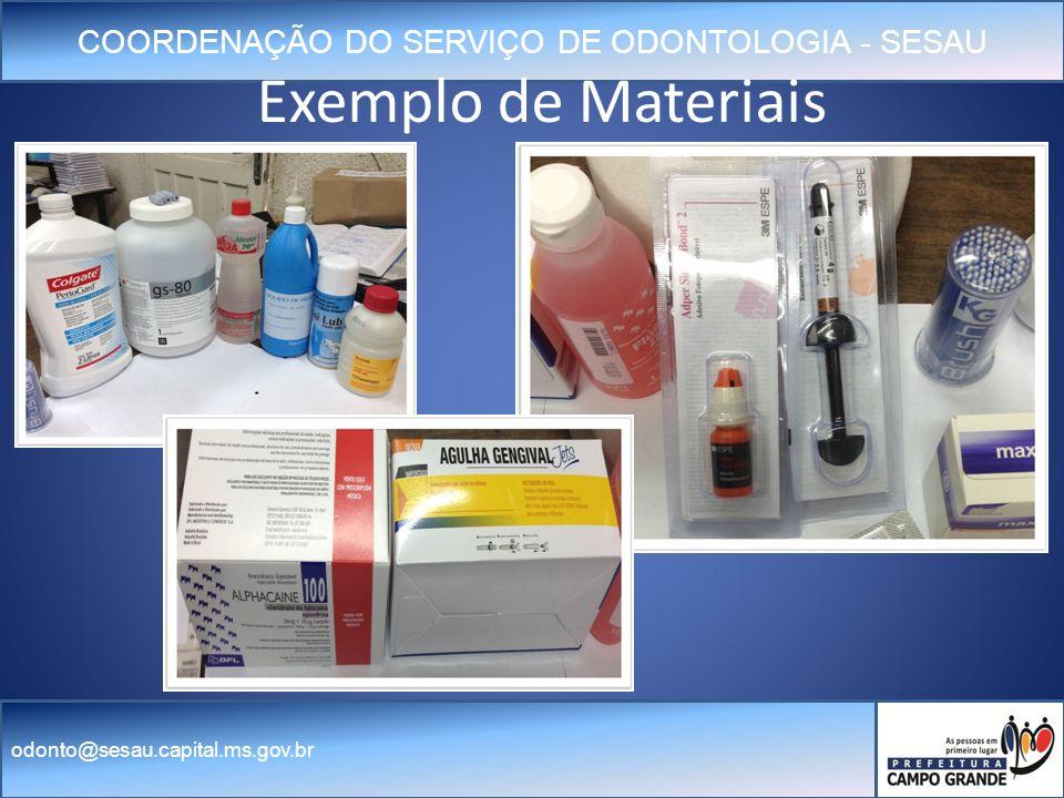 COORDENAÇÃO DO SERVIÇO DE ODONTOLOGIA - SESAU odonto@sesau.capital.ms.gov.br Exemplo de Materiais