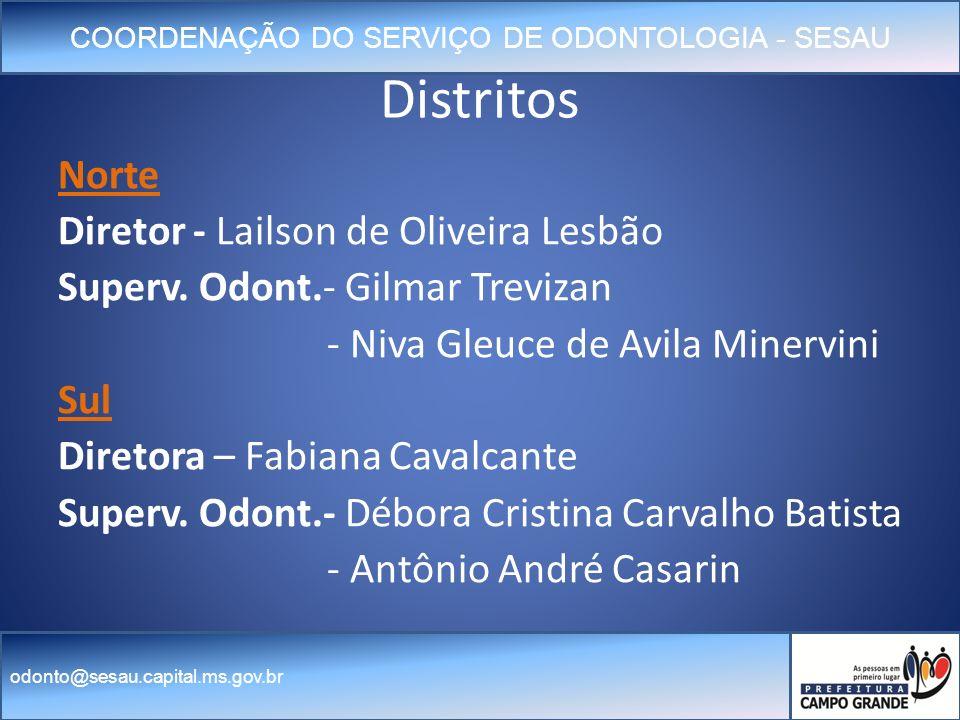 COORDENAÇÃO DO SERVIÇO DE ODONTOLOGIA - SESAU odonto@sesau.capital.ms.gov.br Distritos Norte Diretor - Lailson de Oliveira Lesbão Superv.