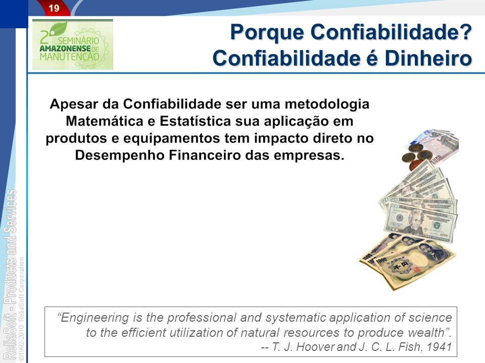 ©1992-2010 ReliaSoft Corporation 19 Porque Confiabilidade? Confiabilidade é Dinheiro Engineering is the professional and systematic application of sci