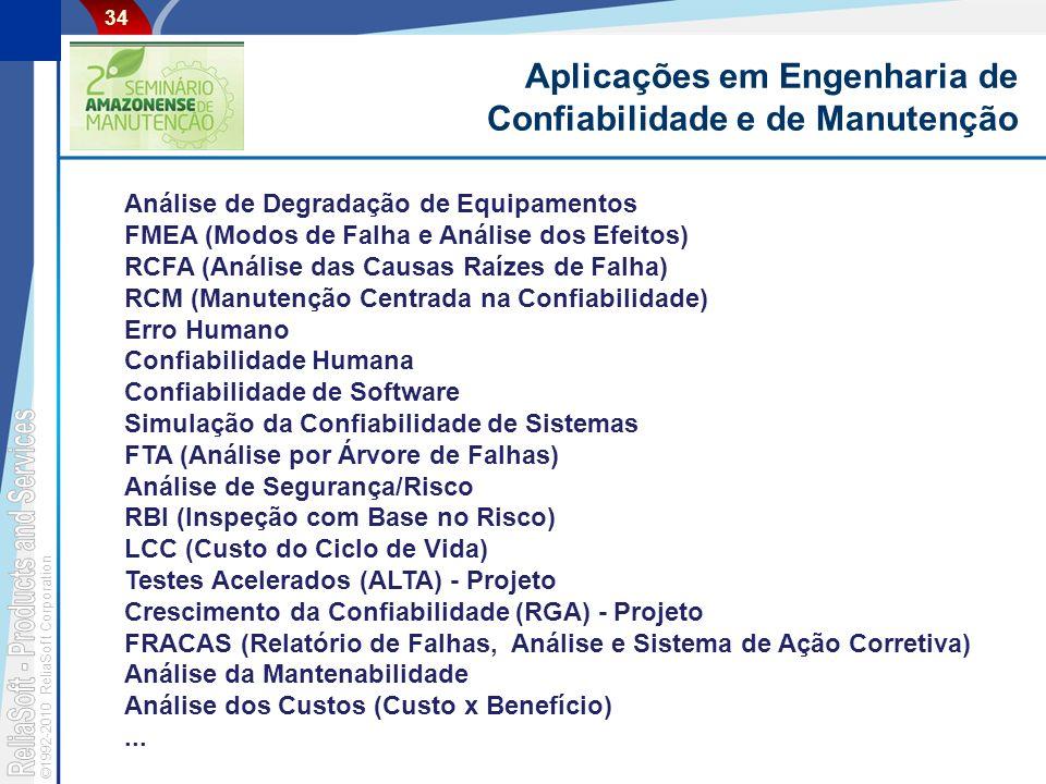 ©1992-2010 ReliaSoft Corporation 34 Aplicações em Engenharia de Confiabilidade e de Manutenção Análise de Degradação de Equipamentos FMEA (Modos de Falha e Análise dos Efeitos) RCFA (Análise das Causas Raízes de Falha) RCM (Manutenção Centrada na Confiabilidade) Erro Humano Confiabilidade Humana Confiabilidade de Software Simulação da Confiabilidade de Sistemas FTA (Análise por Árvore de Falhas) Análise de Segurança/Risco RBI (Inspeção com Base no Risco) LCC (Custo do Ciclo de Vida) Testes Acelerados (ALTA) - Projeto Crescimento da Confiabilidade (RGA) - Projeto FRACAS (Relatório de Falhas, Análise e Sistema de Ação Corretiva) Análise da Mantenabilidade Análise dos Custos (Custo x Benefício)...