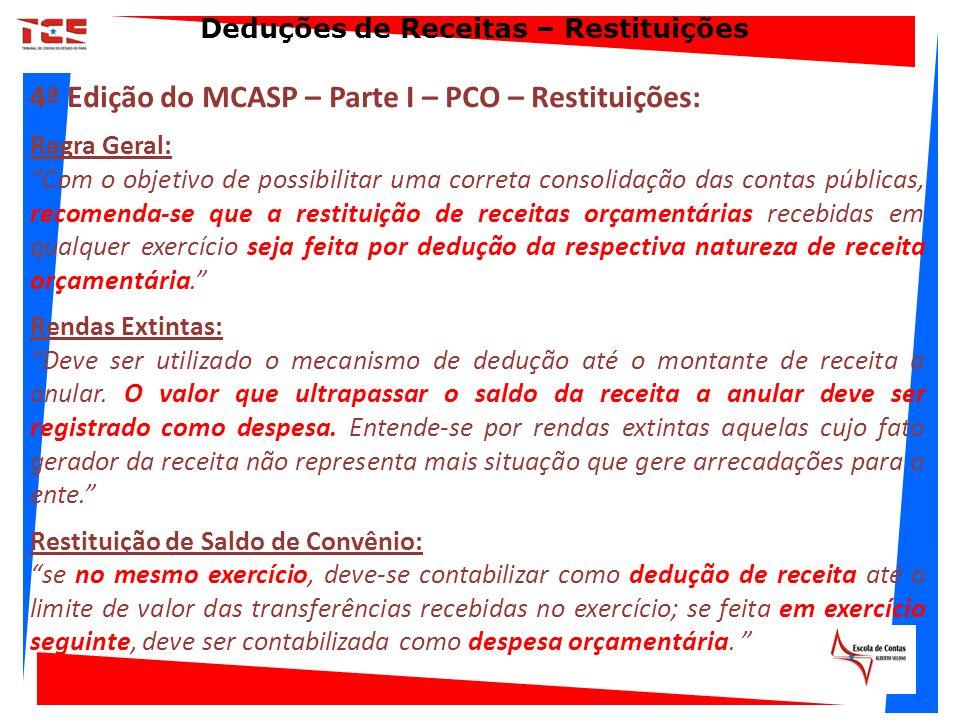 4ª Edição do MCASP – Parte I – PCO – Restituições: Regra Geral: Com o objetivo de possibilitar uma correta consolidação das contas públicas, recomenda