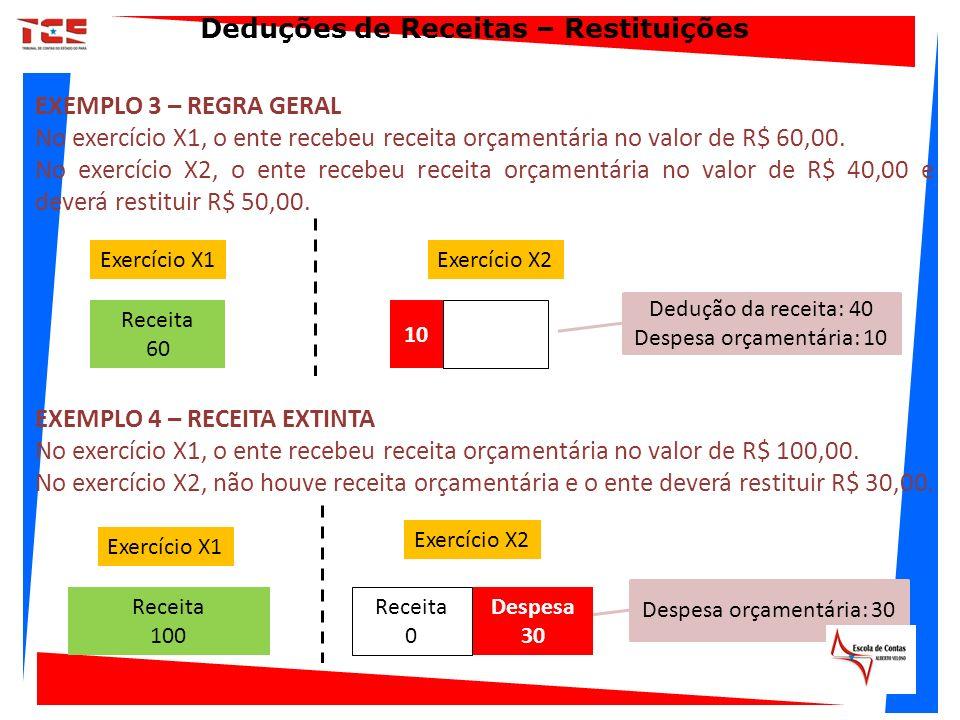 EXEMPLO 4 – RECEITA EXTINTA No exercício X1, o ente recebeu receita orçamentária no valor de R$ 100,00. No exercício X2, não houve receita orçamentári