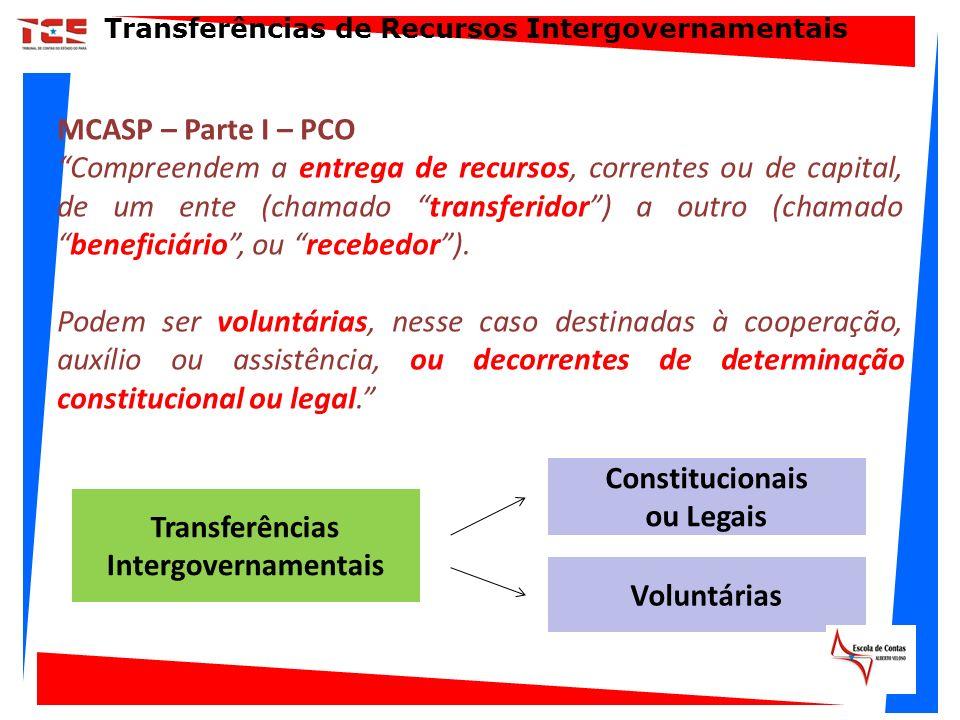 MCASP – Parte I – PCO Compreendem a entrega de recursos, correntes ou de capital, de um ente (chamado transferidor) a outro (chamadobeneficiário, ou r