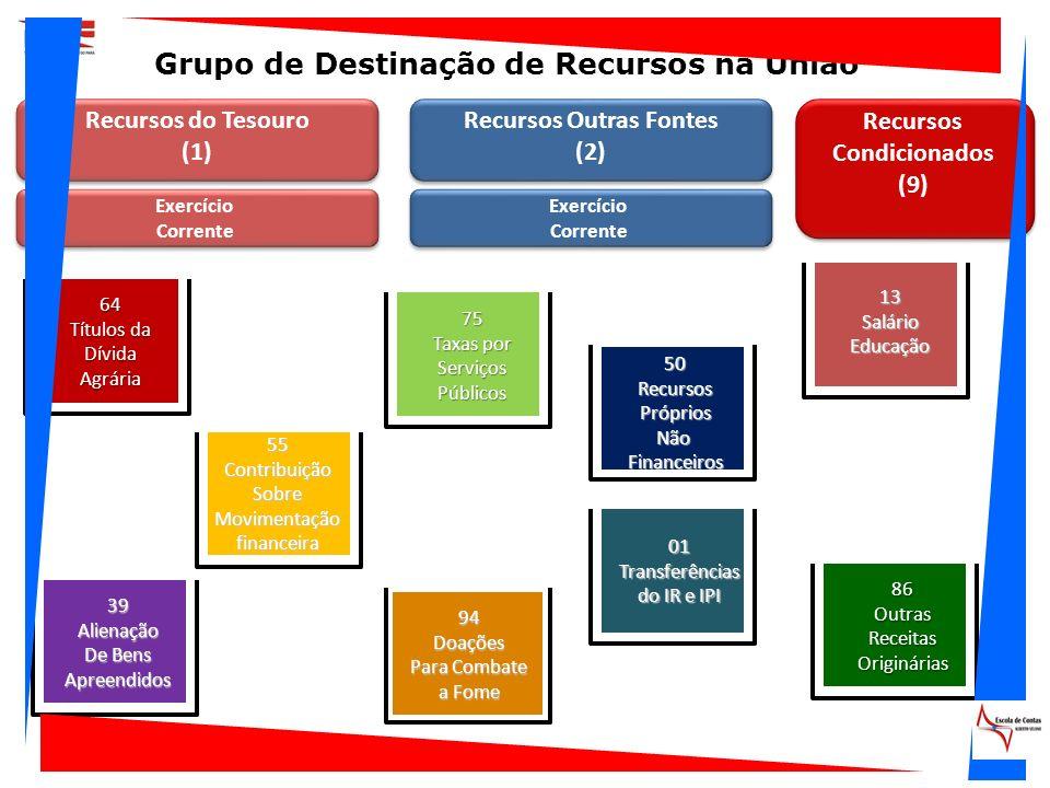 Recursos do Tesouro (1) Recursos Outras Fontes (2) Exercício Corrente 13SalárioEducação 01Transferências do IR e IPI 50RecursosPrópriosNãoFinanceiros