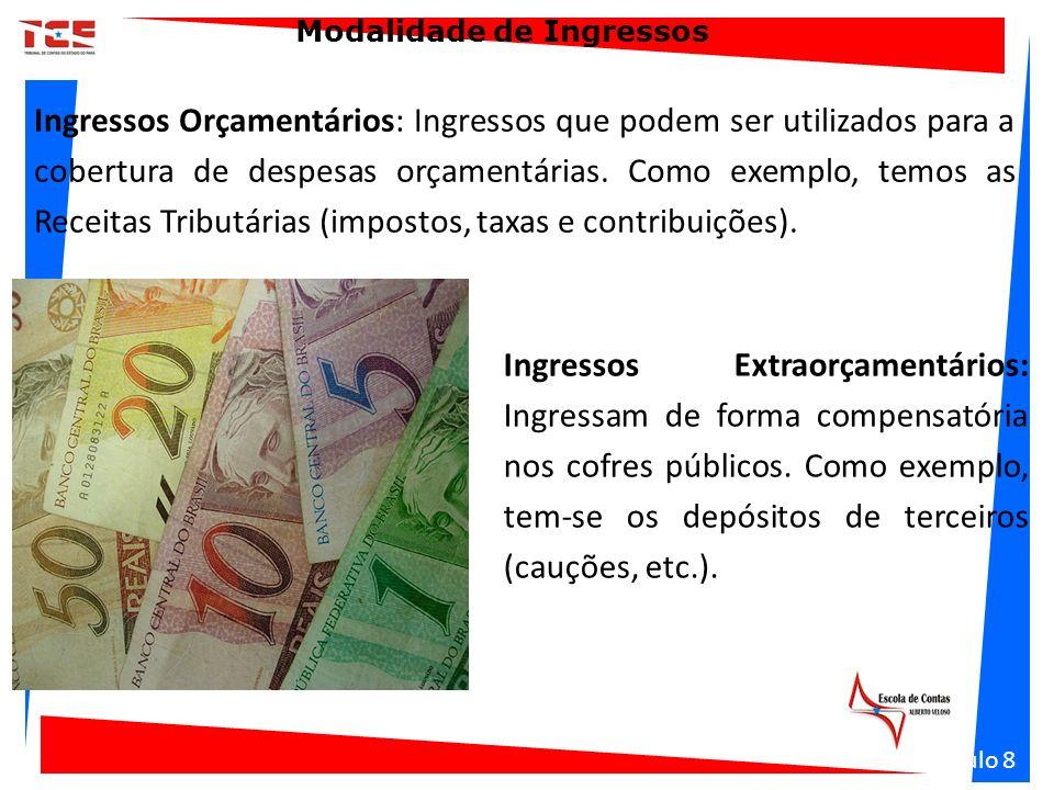 Modalidade de Ingressos Ingressos Orçamentários: Ingressos que podem ser utilizados para a cobertura de despesas orçamentárias. Como exemplo, temos as