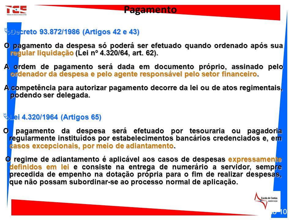Decreto 93.872/1986 (Artigos 42 e 43) Decreto 93.872/1986 (Artigos 42 e 43) O pagamento da despesa só poderá ser efetuado quando ordenado após sua reg