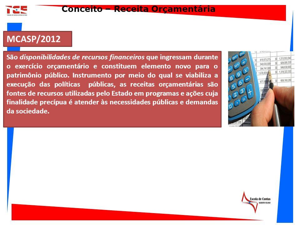 MCASP/2012 São disponibilidades de recursos financeiros que ingressam durante o exercício orçamentário e constituem elemento novo para o patrimônio pú