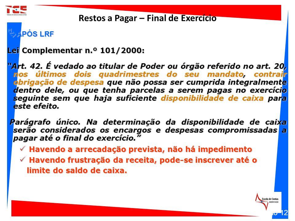 APÓS LRF APÓS LRF Lei Complementar n.º 101/2000: Art. 42. É vedado ao titular de Poder ou órgão referido no art. 20, nos últimos dois quadrimestres do