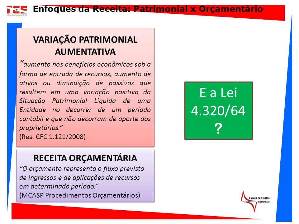 RECEITA ORÇAMENTÁRIA O orçamento representa o fluxo previsto de ingressos e de aplicações de recursos em determinado período. (MCASP Procedimentos Orç
