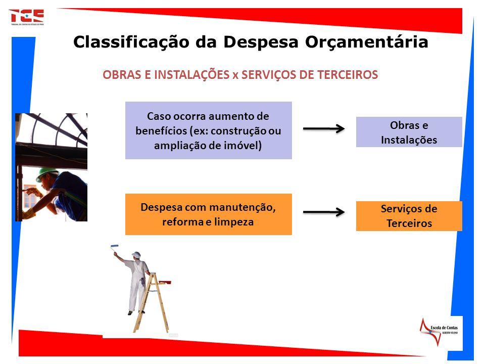 OBRAS E INSTALAÇÕES x SERVIÇOS DE TERCEIROS Caso ocorra aumento de benefícios (ex: construção ou ampliação de imóvel) Obras e Instalações Serviços de
