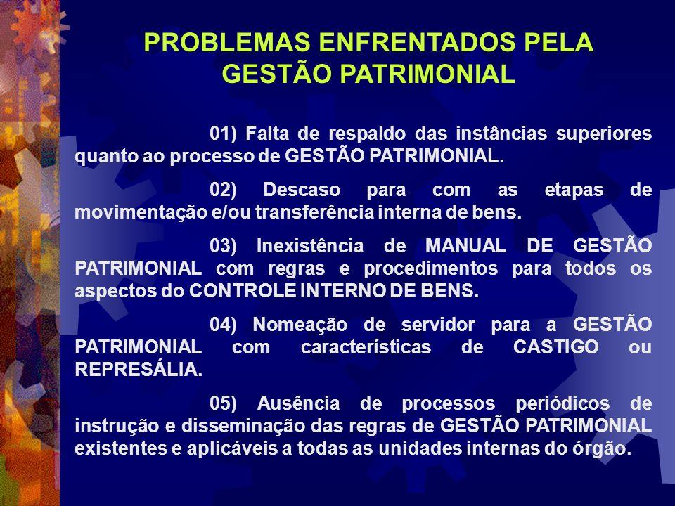 01) Falta de respaldo das instâncias superiores quanto ao processo de GESTÃO PATRIMONIAL. 02) Descaso para com as etapas de movimentação e/ou transfer
