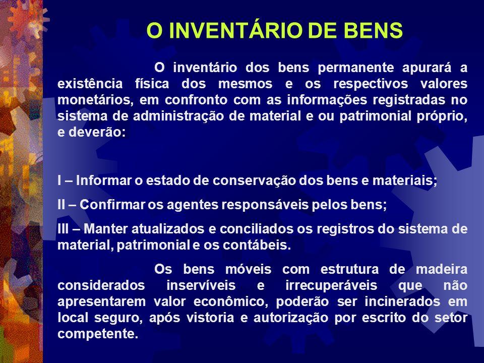 O inventário dos bens permanente apurará a existência física dos mesmos e os respectivos valores monetários, em confronto com as informações registrad
