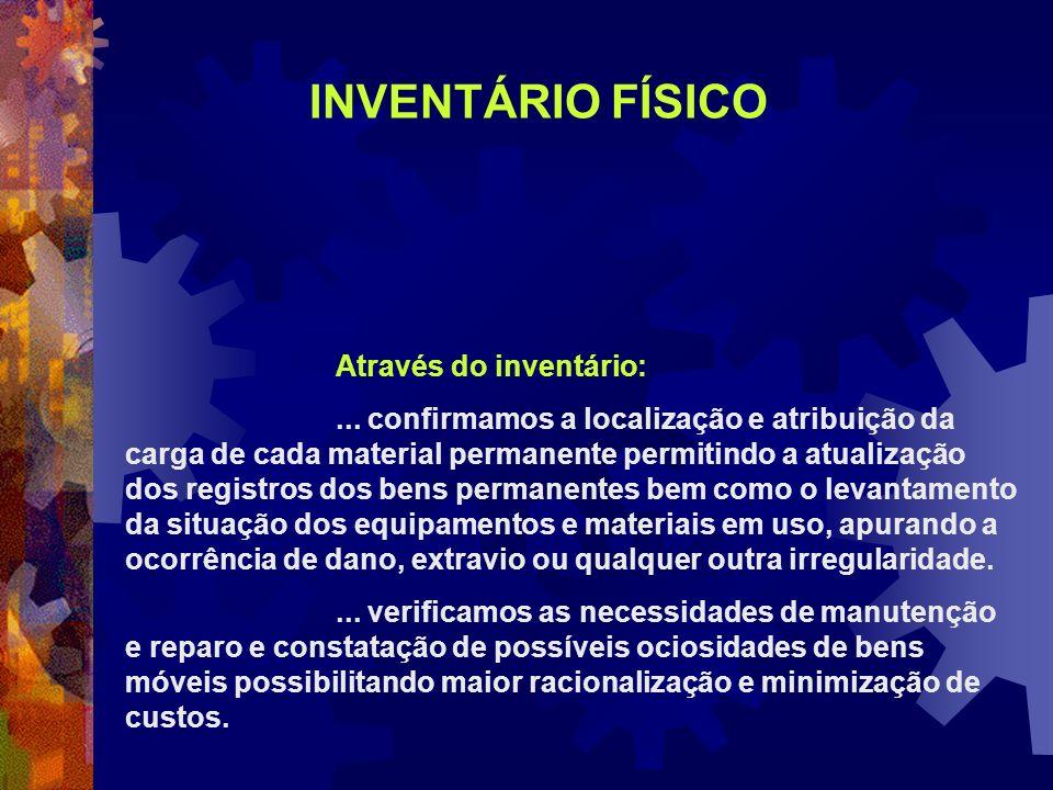 Através do inventário:... confirmamos a localização e atribuição da carga de cada material permanente permitindo a atualização dos registros dos bens