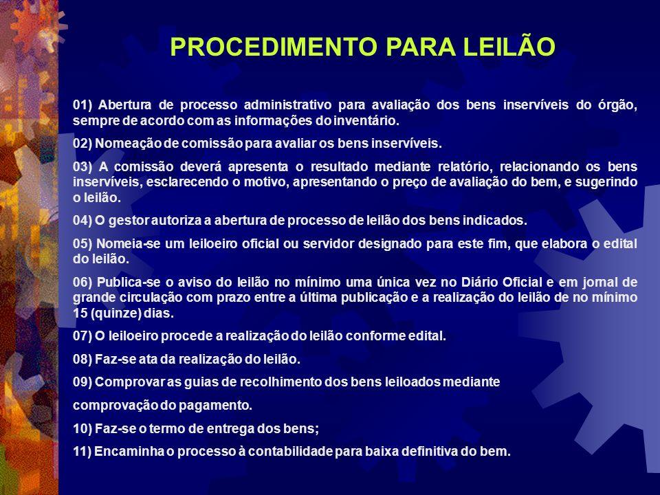 01) Abertura de processo administrativo para avaliação dos bens inservíveis do órgão, sempre de acordo com as informações do inventário. 02) Nomeação