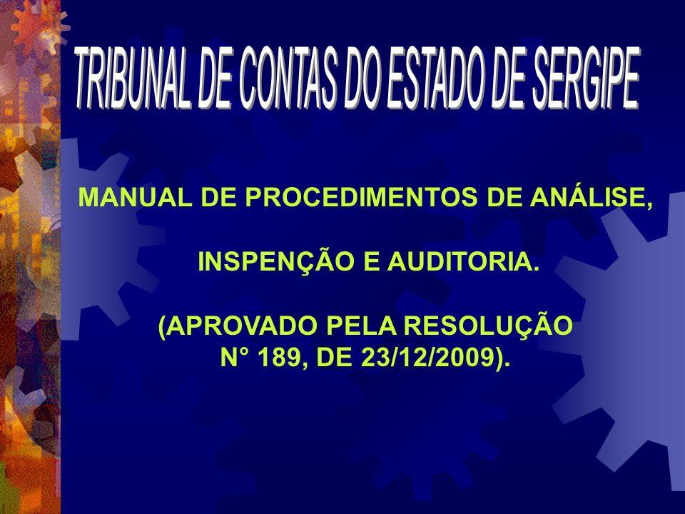 MANUAL DE PROCEDIMENTOS DE ANÁLISE, INSPENÇÃO E AUDITORIA. (APROVADO PELA RESOLUÇÃO N° 189, DE 23/12/2009).