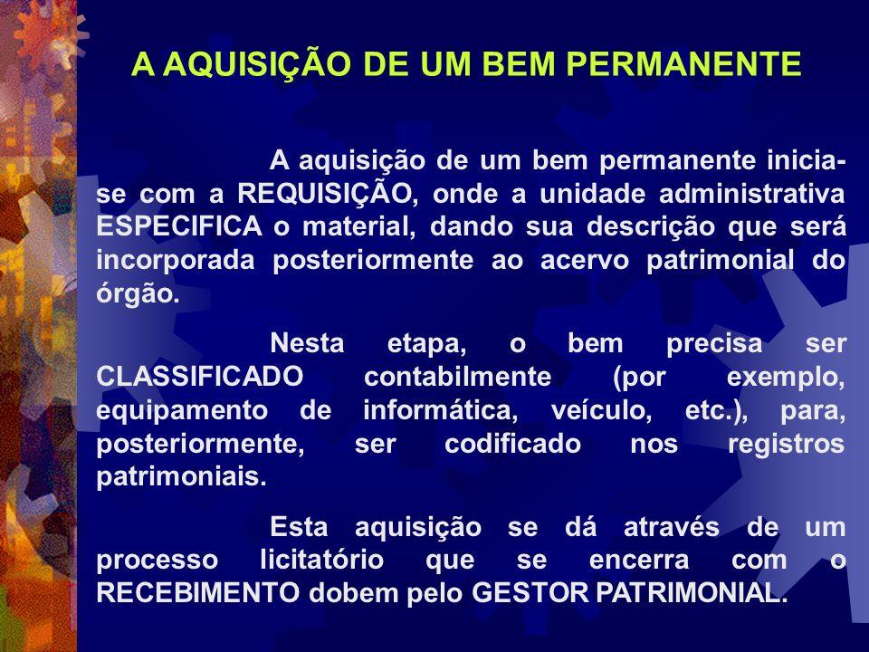 A aquisição de um bem permanente inicia- se com a REQUISIÇÃO, onde a unidade administrativa ESPECIFICA o material, dando sua descrição que será incorp