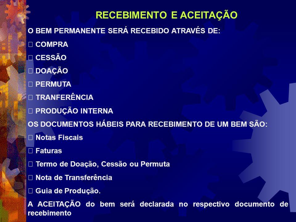 O BEM PERMANENTE SERÁ RECEBIDO ATRAVÉS DE: COMPRA CESSÃO DOAÇÃO PERMUTA TRANFERÊNCIA PRODUÇÃO INTERNA OS DOCUMENTOS HÁBEIS PARA RECEBIMENTO DE UM BEM