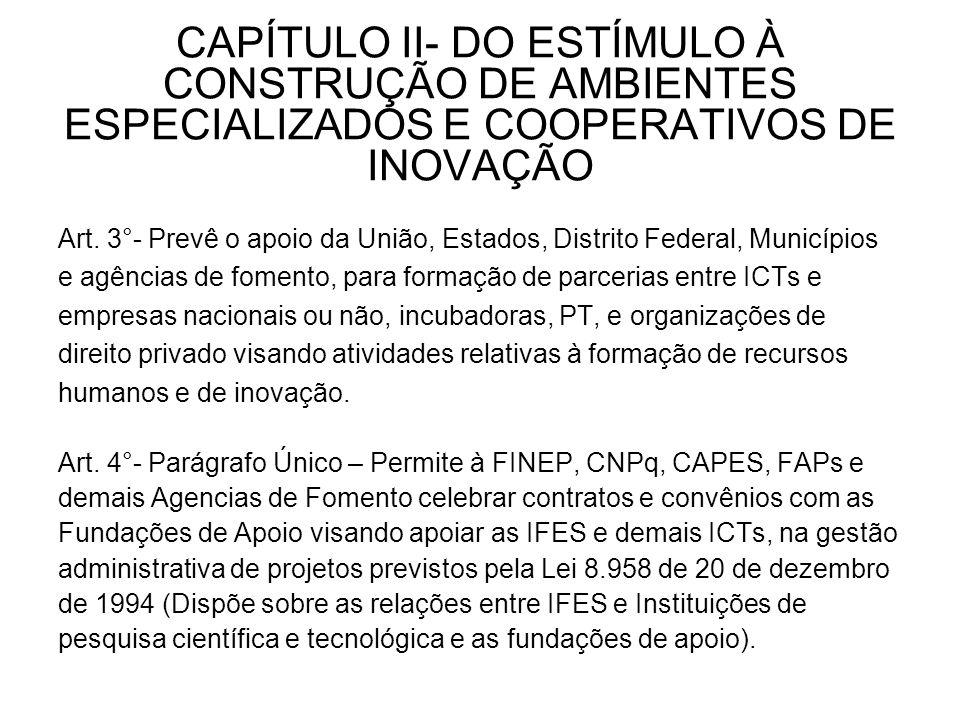 CAPÍTULO II- DO ESTÍMULO À CONSTRUÇÃO DE AMBIENTES ESPECIALIZADOS E COOPERATIVOS DE INOVAÇÃO Art.