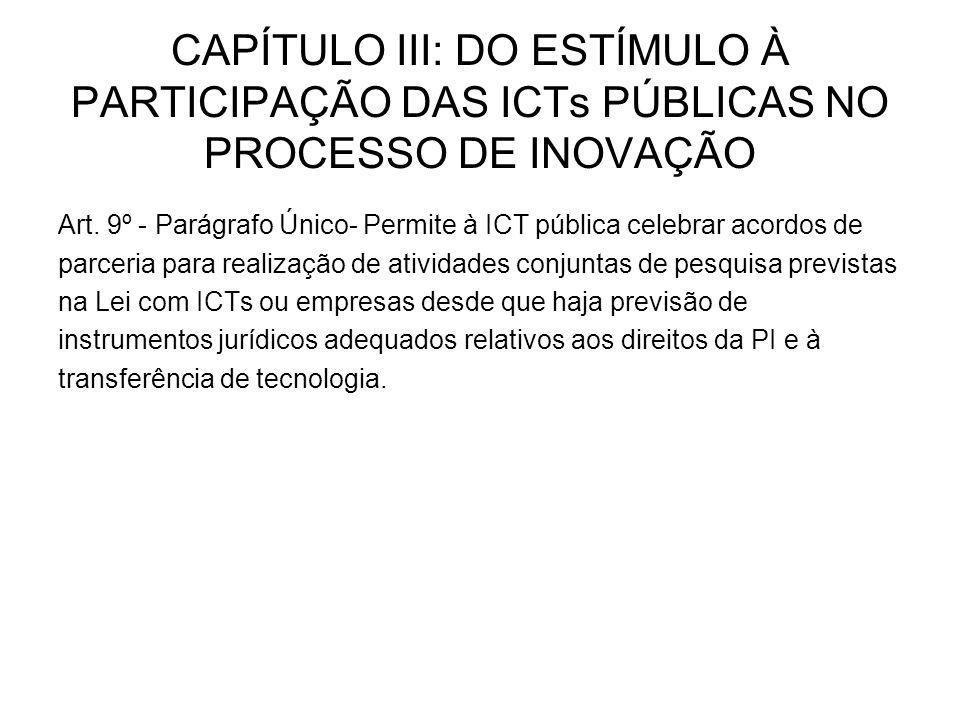 CAPÍTULO III: DO ESTÍMULO À PARTICIPAÇÃO DAS ICTs PÚBLICAS NO PROCESSO DE INOVAÇÃO Art.