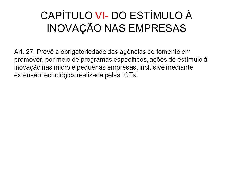 CAPÍTULO VI- DO ESTÍMULO À INOVAÇÃO NAS EMPRESAS Art.